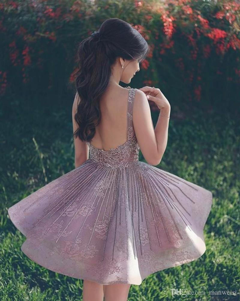Elegant Short Homecoming Dresses Beaded A Line Lace Appliqued Sweet 16 Prom Gowns Sexy Backless Party Dress