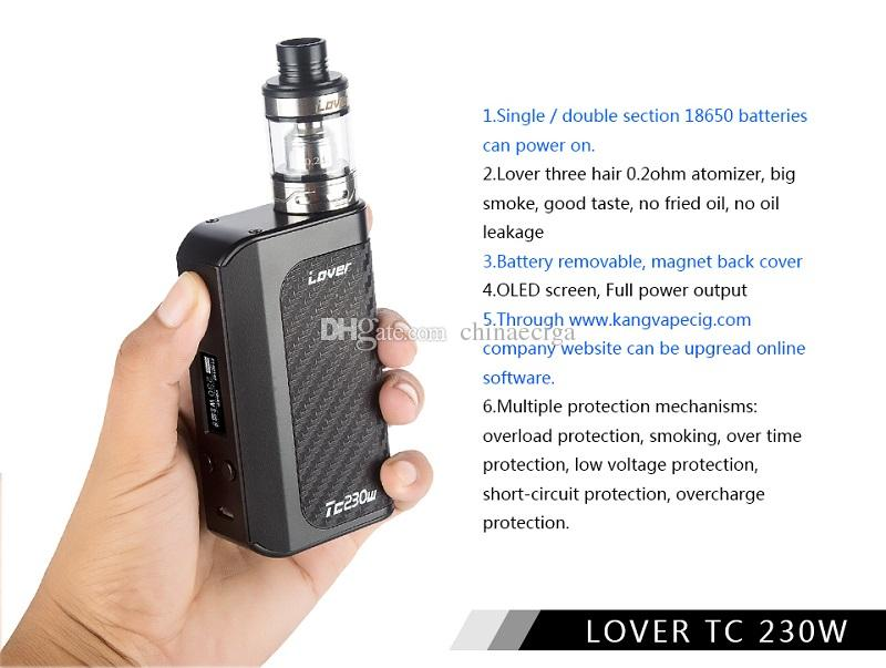 100% Authentic KVP Kangvape Lover 230W TC 5000mAh VW APV Box Mod Kit SS Ecig Vapes with OLED Screen DHL