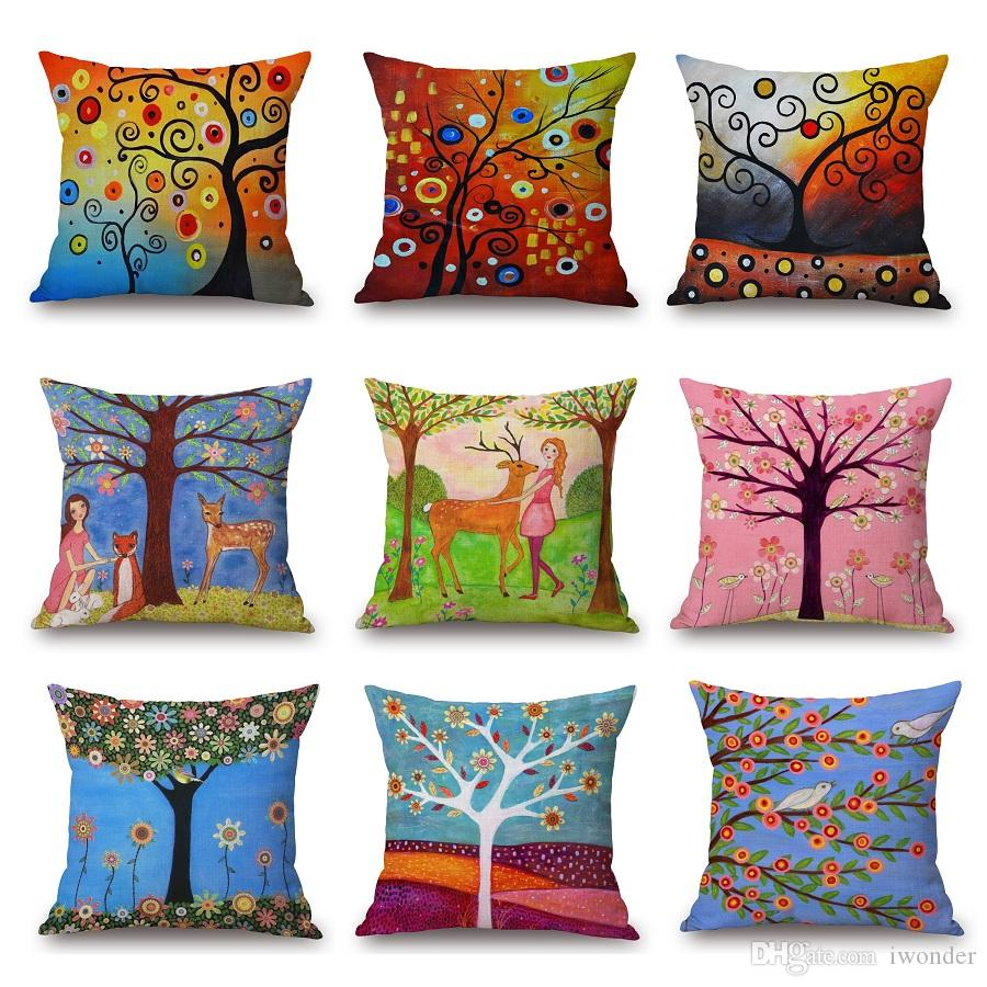 Flower Tree Cushion Cover Oil Painting Deer Pillow Cover 21 Styles Thin  Linen Pillow Cases 45x45cm Bedroom Sofa Decoration 24 Inch Outdoor Cushions  Outdoor ...