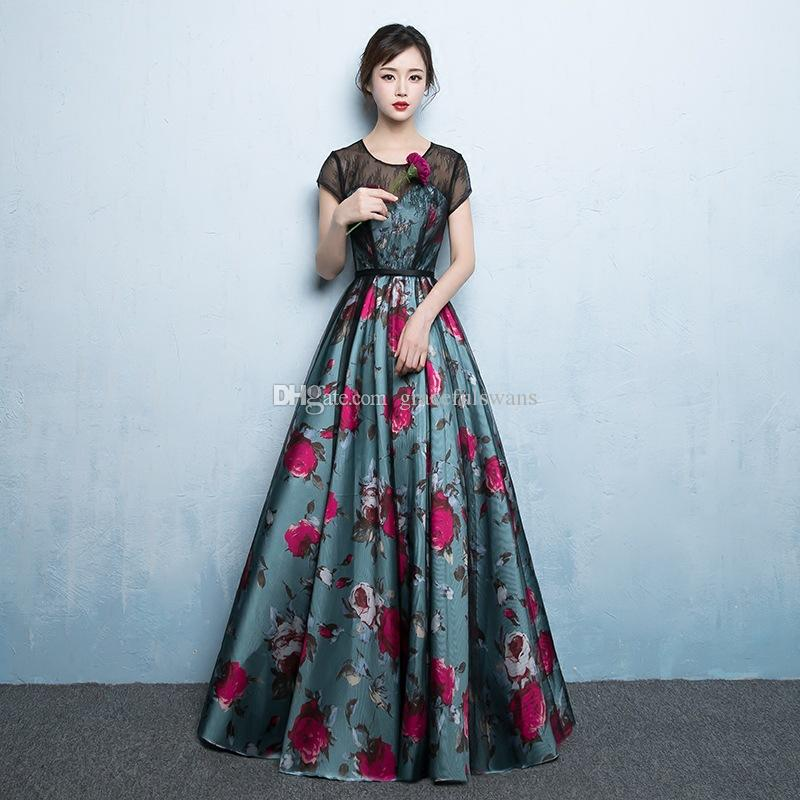 405b33581663c O-Neck A-Line Black Lace Short Sleeve Elegant Formal Dresses for Girls Blue  Skirt with Red Flowers Gorgeous Printed Evening Gowns