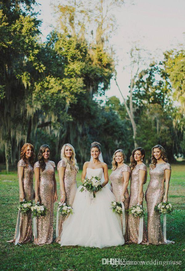 2019 Sparkly Rose Gold Champagne Cheap Mermaid Bridesmaids Dresses Short Sleeves Sequins Backless Long Beach Wedding Party Gowns