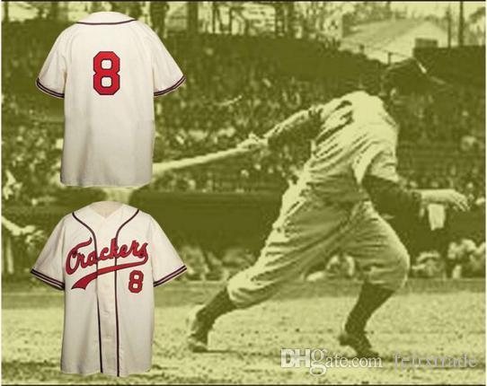1957 Réplica de Atlanta Crackers Button-Down Baseball Jersey Personalizado de Alta Qualidade Frete Grátis Barato Camisas de Beisebol