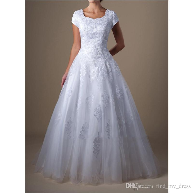 Top vente manches courtes robes de mariée corset Une ligne dentelle Tulle robes de mariée taille personnalisée balayage train appliques moderne populaire blanc ivoire chaud