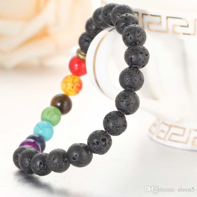 Fashion 7 Chakra Bracelet Power Energy Bracelet Men Women Fashion Rock Lava Stone Bracelet Top Seller Preferred