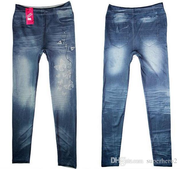 YENI Kadın Faux Denim Jeans Tayt Kelebek baskılı Kalem Ince Peluş boyutu streç Jeggings Seksi Bayan Pantolon pantolon mavi siyah hediyeler