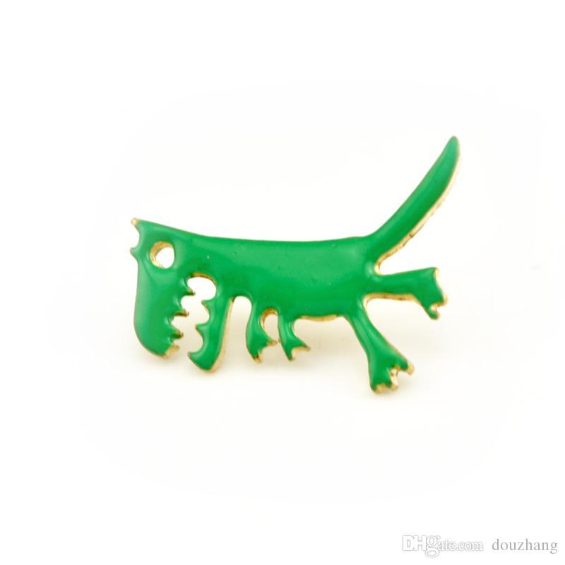 Unisex Grün Emaille Dinosaurier Shirt Brosche Pin Kragen Button Stud Broschen Für Frauen Männer Schmuck Großhandel 12 Stücke