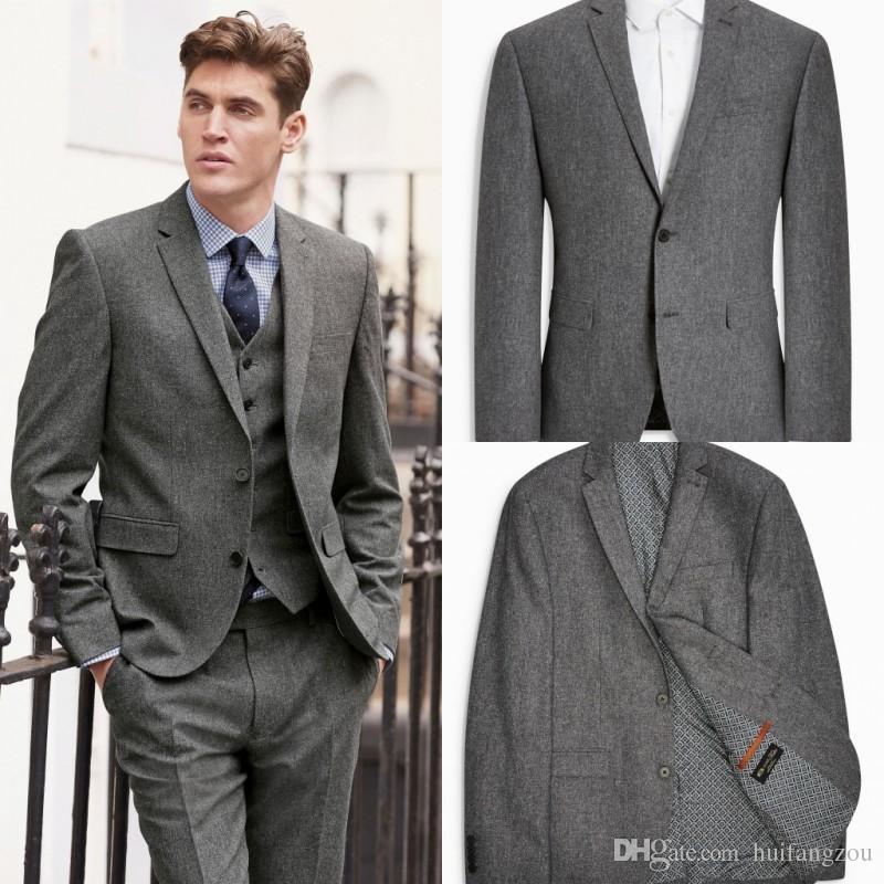 Dark Grey Men Suits In Wedding Tuxedos Formal Custom Made Three ...