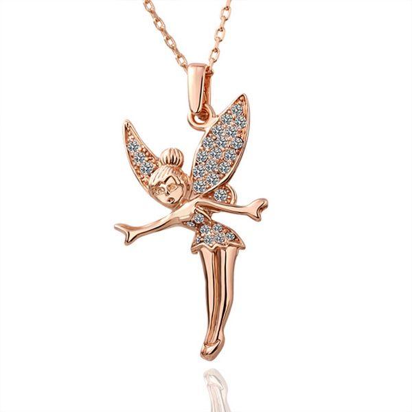 고품질의 여성 천사 18k 골드 쥬얼리 펜던트 목걸이 WGN010, A + + 체인 로즈 골드 화이트 보석 목걸이