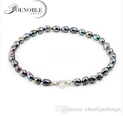 75cab7b9a2f85f YouNoble 2017 Fashion Black Pearl Necklace for Mother BestGift 10-11mm  Baroque Freshwater Pearl Jewelry ...