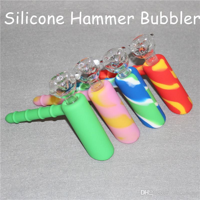 Hammer Silikon Wasser Bongs 18,8mm Joint Rauchen Bubbler Mit Honeycomb Percolator Doppel Recycler Showerhead Ölplattform mit Glas Schüssel DHL