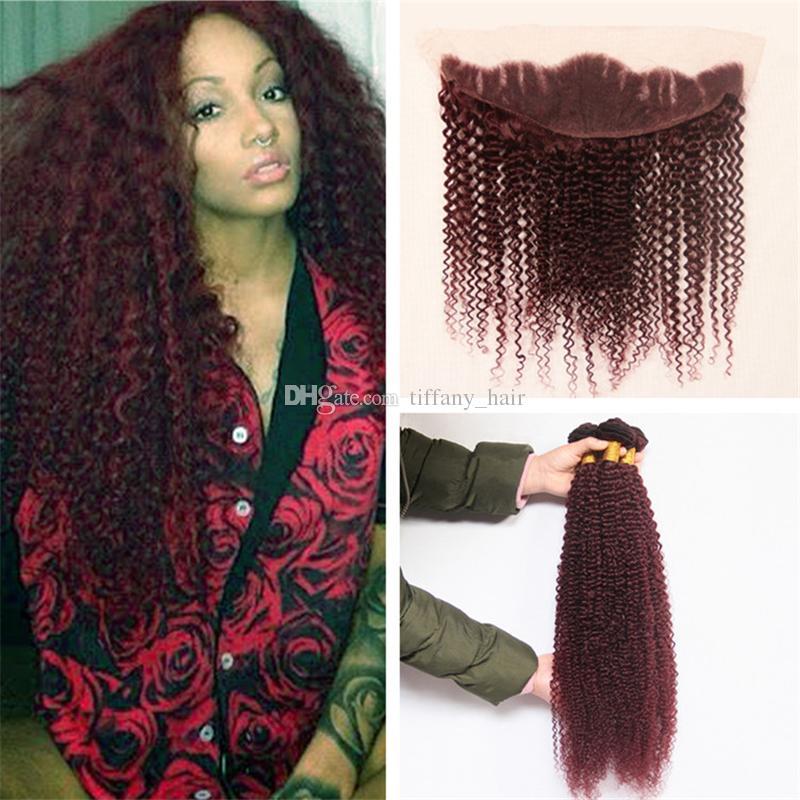 Cheap virgin brazilian burgundy hair weaves kinky curly 3 bundles 30 pmusecretfo Choice Image