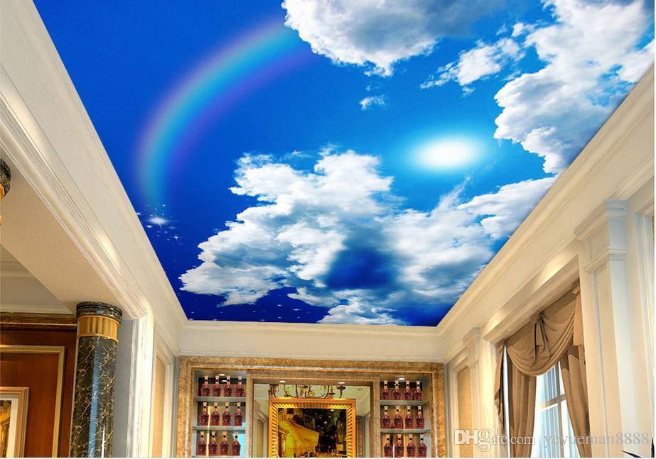 3 차원 천장 사용자 지정 3D 푸른 하늘 흰 구름 태양이 무지개 별 천정에 대한 하늘 벽지 3D 벽지 거실 천장 현대