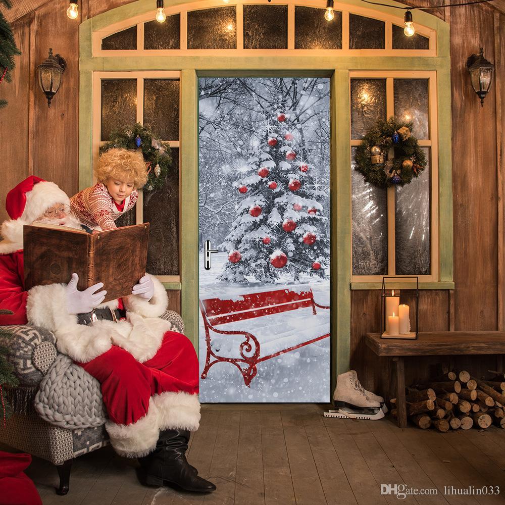 200x77cm 2 шт. / компл. самоклеящиеся ПВХ новая имитация 3D двери вставить Рождественская елка творческий наклейки на стены деревянные двери ремонт