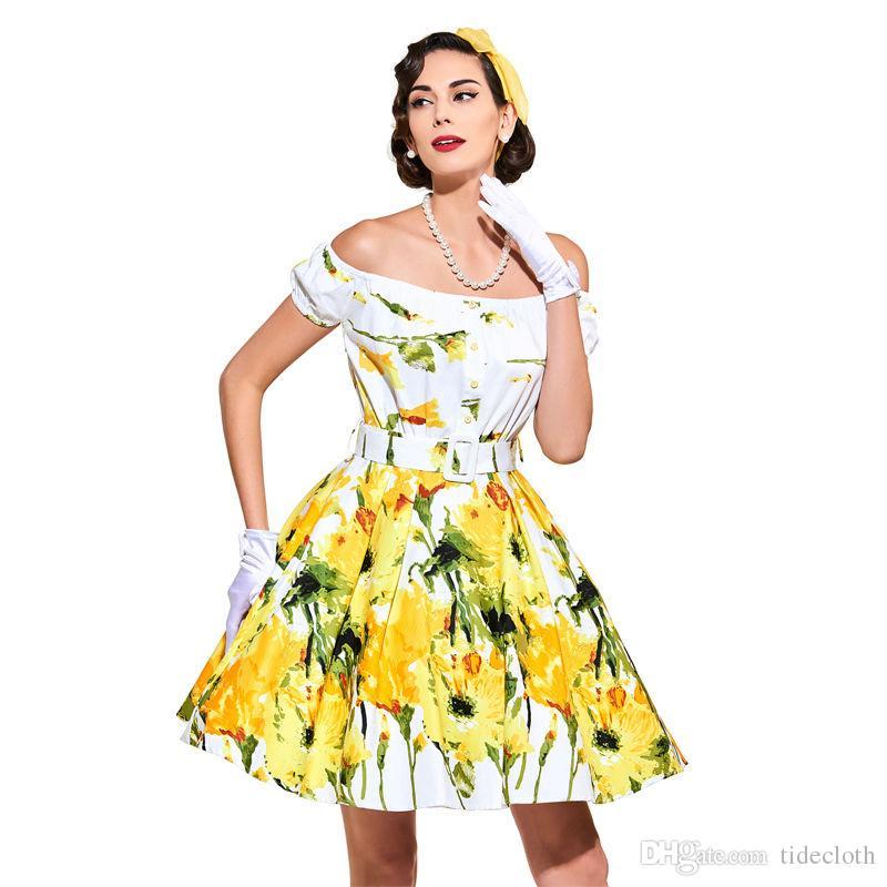 Unique 1950s Style Floral Print Pin Up Vintage Dress Summer Cocktail