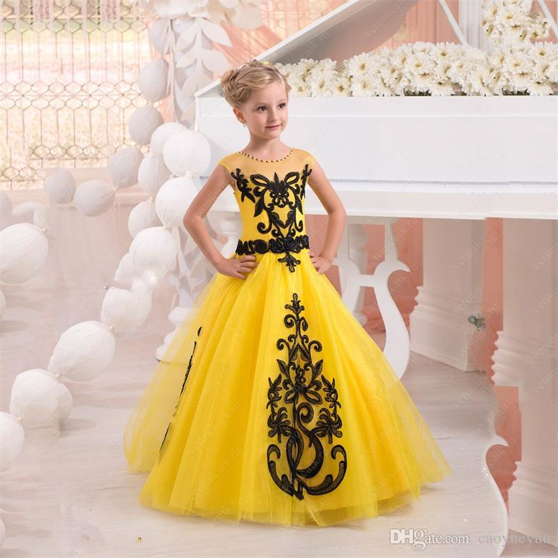 2019 New Yellow Ball Gown Flower Girl Dresses With Black Lace