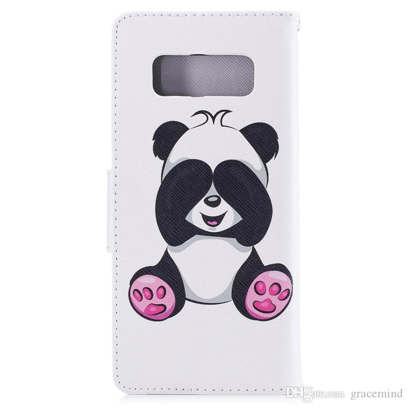 For Samsung Note 8 S8 Plus Cover Painted PU Leather Cases Flip wallet Card Panda Design Phone Bags