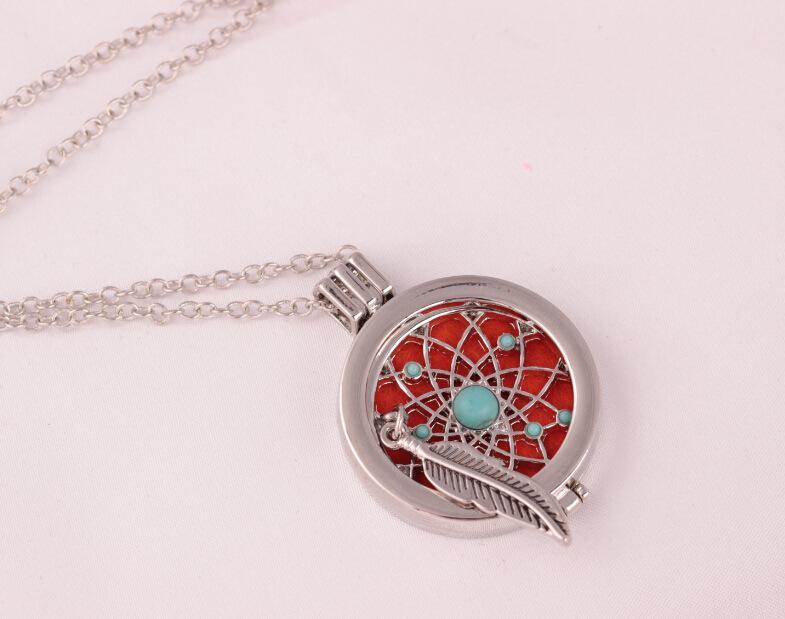 Feather Aromatherapy Lockets Essential Oil Diffuser Girls Necklace Locket Perfume Diffuser Lockets Pendant Wedding Women Necklace Jewelry