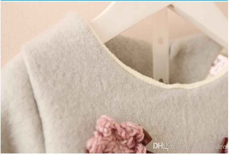 Détail hiver style jolies filles épaissir vêtements chauds ensembles enfants manches longues fleur pull tops + shorts ensemble costumes enfants fille tenues
