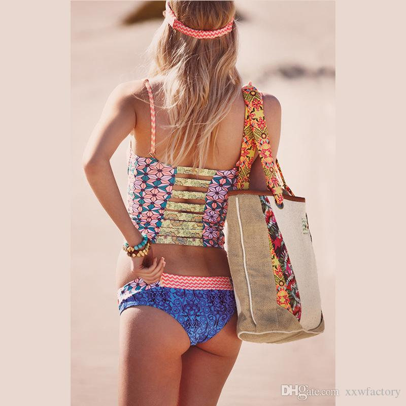 Sexy Brazilian Bikini 3D printing Swimwear Women Bikini Set Cross Bandage Beach Bathing Suit Low Waist Push Up Swimsuit