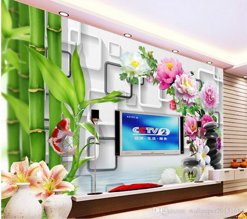 Photo Customize size Bamboo Koi Lily 3D Backdrop Wall mural 3d wallpaper 3d wall papers for tv backdrop