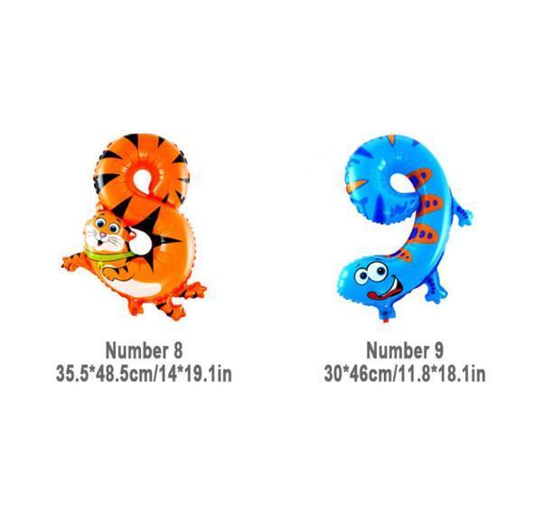 Número de animales de 16 pulgadas Foil Globos Decoración del partido de los niños Feliz cumpleaños Decoración de la boda Regalo de Ballon Envío gratis