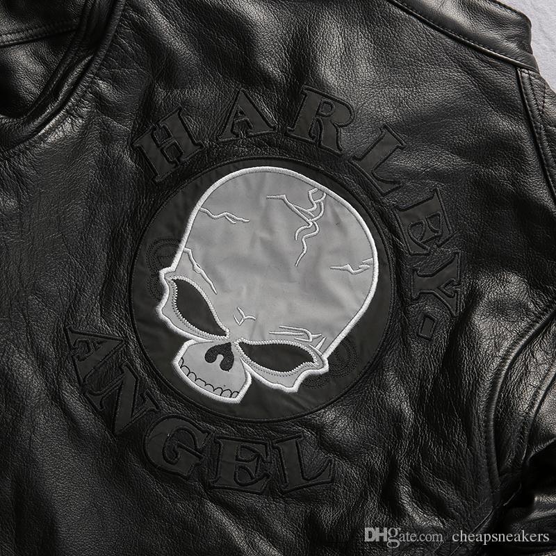Ropa de motociclismo clásica de los EE. UU. Chaqueta de cuero genuino de Back Skull Man Harley-Angel 100% Primera capa de cuero