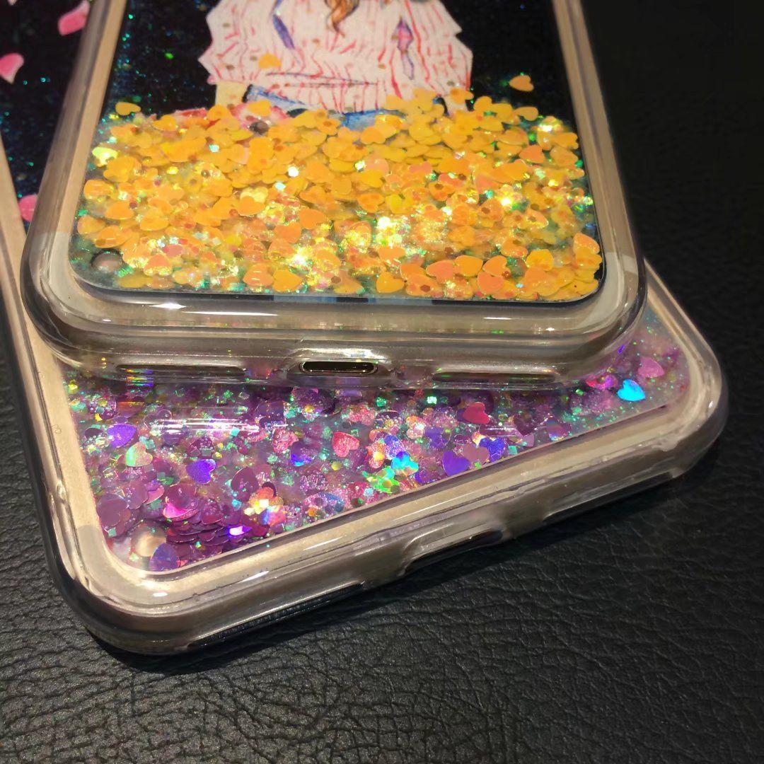For iPhone6 7 8 plus Luxury Diamond Starfish Girl Liquid quicksand Heart glitter Soft Bling case cover