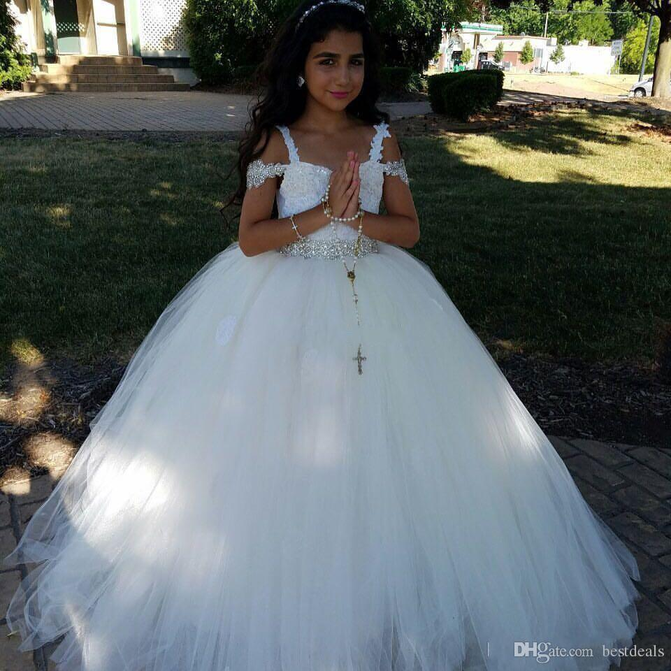New 2017 White Ball Gown Flower Girl Dresses For Weddings Spaghetti Straps Tulle with Beads First Communion Dresses for girls