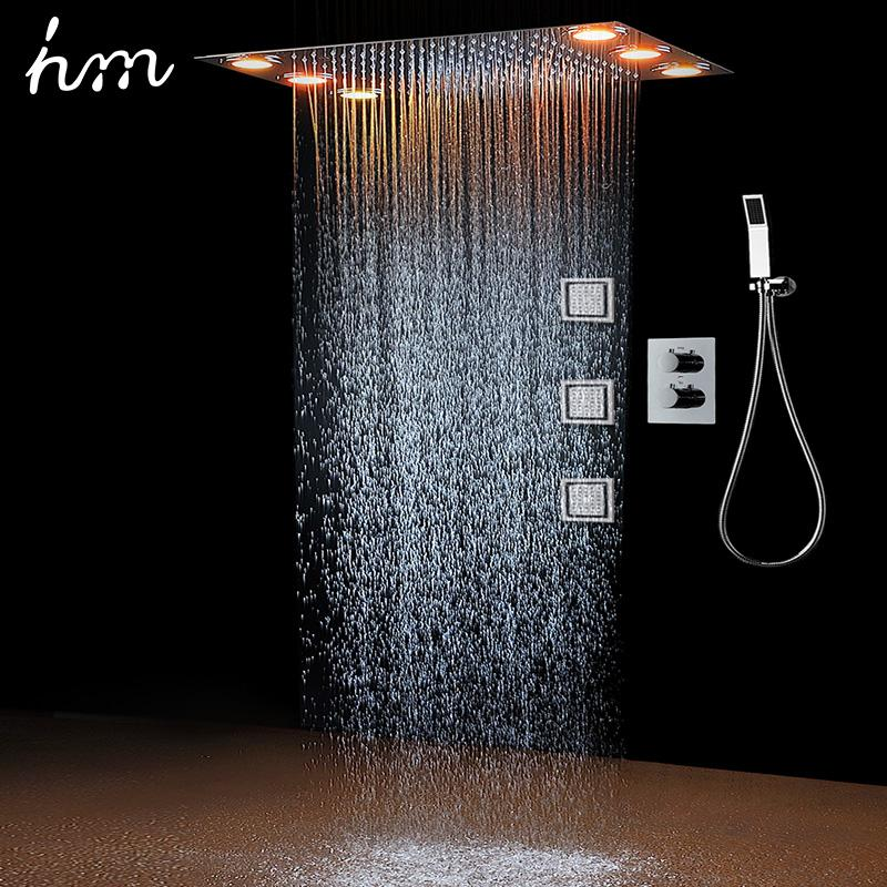 Rain Shower Set&3 Body spray LED Lights &Handshower Remote control color 3 Way Temperature Thermostatic Mixer Bathroom 360*500mm