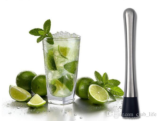 Stainless Steel Cocktail Muddler Bar Mixer Mojito Cocktail Drink Fruit Muddler Crushed Ice Barware Tools #RNK66