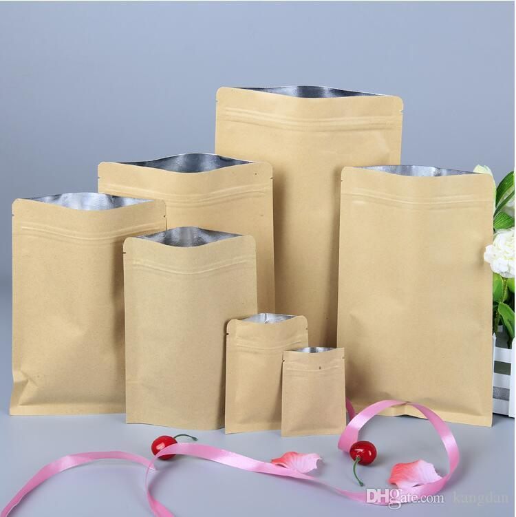 cowhide paper Moisture-proof Food Bags Kraft Paper Aluminum Foil Lining snake Pouch Packaging valve bag for Candy Cookie Baking gift bag