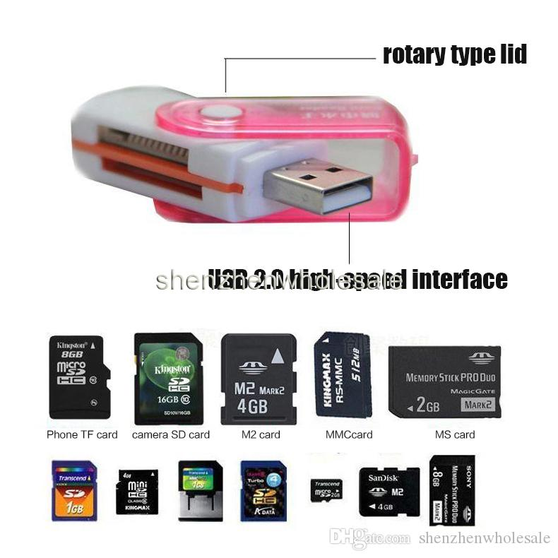 All in 1 USB 2.0 Multi Memory Card Reader Adapter Connector For Micro SD MMC SDHC TF M2 Memory Stick MS Duo RS-MMC