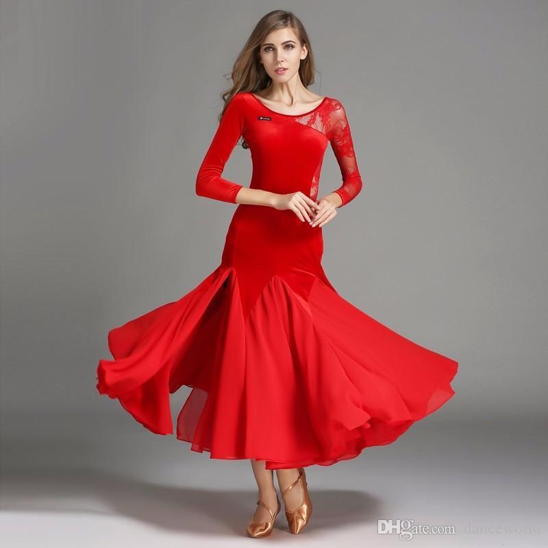 03a3720d33c Compre 2018 Negro Mangas Largas De Terciopelo Salón De Baile Vestidos De La Competencia  Vestido De Vals Baile Mujer Encaje Rojo Flamenco Estándar Vestidos ...