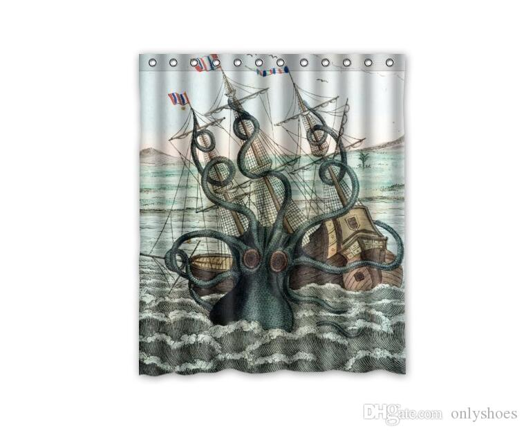 2019 Customs 36 48 60 66 72 80 W X H Inch Shower Curtain Cool Kraken Octopus Pattern Polyester Fabric From Onlyshoes 1659