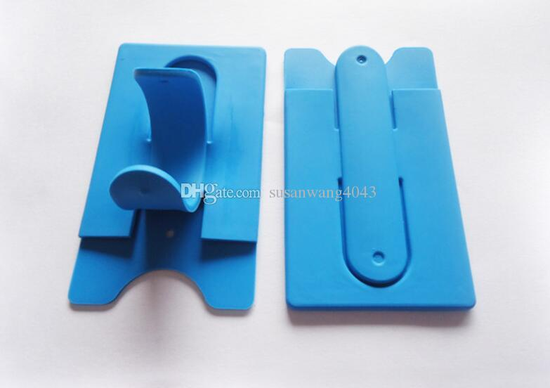 Titular slot para cartão universal titular dedo portátil stander com adesivo para iphone 7 galaxy s8 k7 silicone wallet bracket montagens DHL HDSZ012