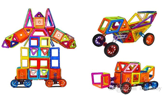 7168A Magnetic Blocks Building Puzzle Rainbow colors Magnet Block Toys for kids Vehicle set Creater Carnival Set Christmas Gift