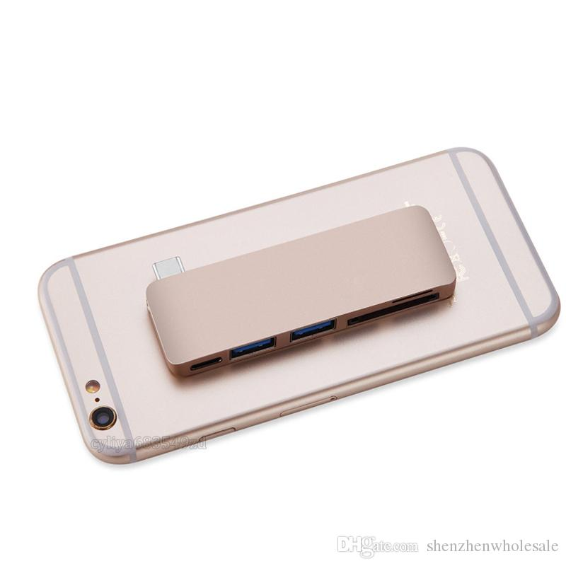 5 في 1 Combo Type C Hub USB C USB 3.0 Slot-in Hub مايكرو SD / SD قارئ بطاقة Hub مع منفذ شحن لماك بوك