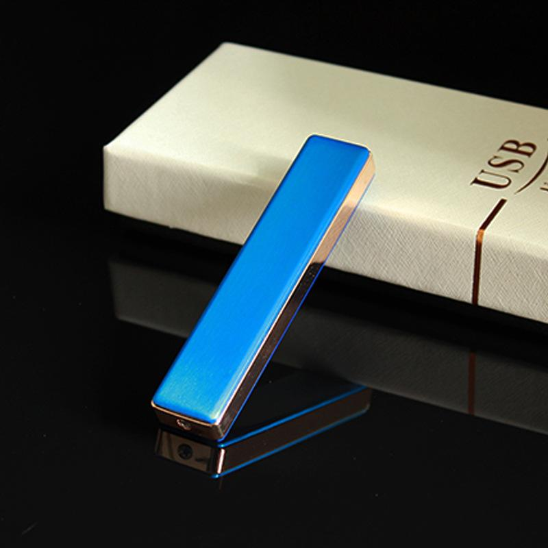 Portable mini safe USB rechargeable electronic cigarette lighter Pure color strip metal lighters can replace the heating wire