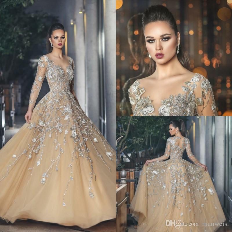 47261e15fc8 Elegant Champagne Long Sleeve Prom Dresses Beaded Sexy Lace Appliqued  Formal Evening Gowns 2018 New Plus Size Special Occasion Dress Short Purple  Prom ...