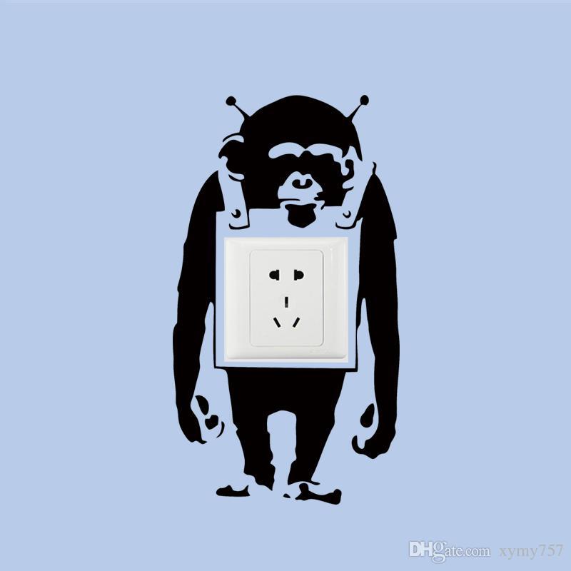 2017 Hot Sale Cool Graphics Trendy London Banksy Monkey Graffiti Art Light Switch Vinyl Wall Sticker Decal Jdm