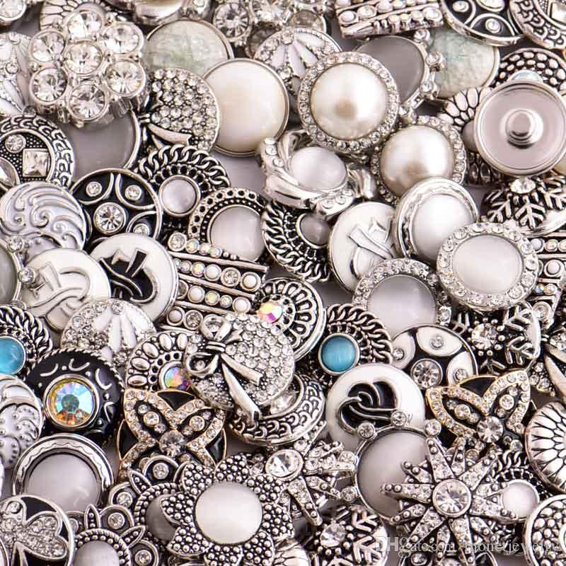 D03464 Rivca Snaps Button Jewelry Hot all'ingrosso / lotto Mix stili 18mm Strass Metallo Snap Button Charm Fit Bracciali NOOSA pezzo