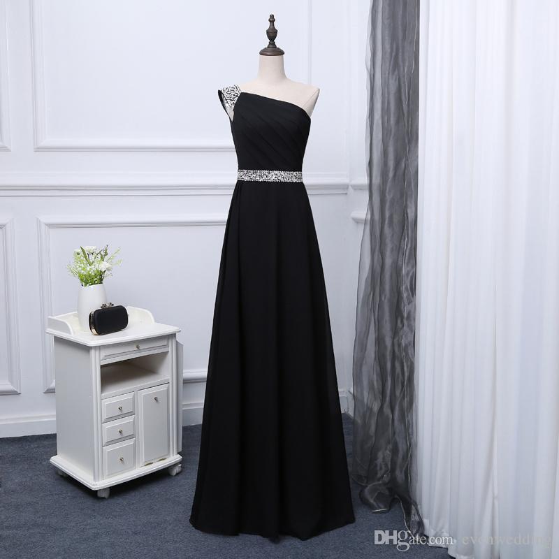 d3d430ff1d Compre Con Cuentas Un Hombro Largo Gasa Prom Vestidos De Noche Con Cordones  2018 Elegante Negro Vestido De Noche Envío Rápido A  87.44 Del Evenwedding  ...