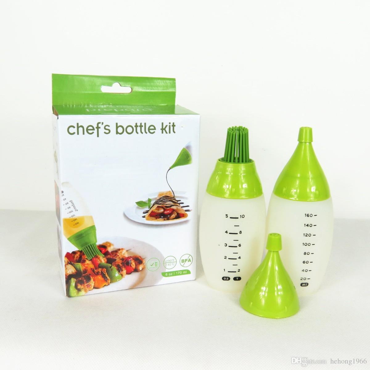 Outdoor BBQ Chefs Bottle Kit Scrub di plastica Trasparente Brush Instrument Condimento Significa Kitchen Tool Brushes con cappuccio di alta qualità 13kr R