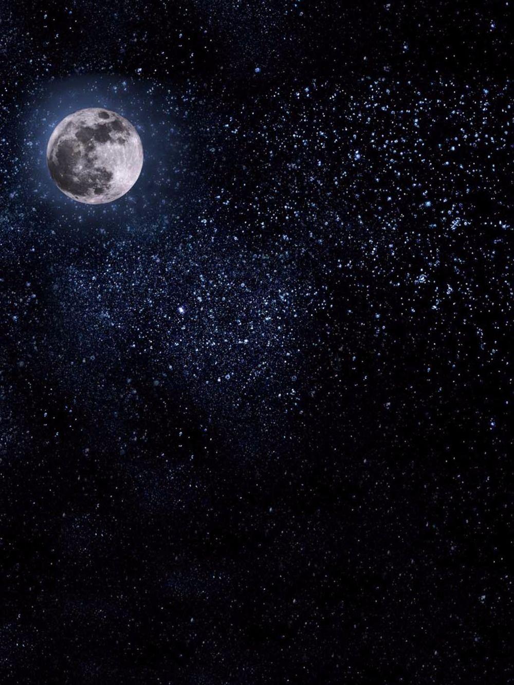 2019 dark blue night sky backdrops vinyl bright moon photography
