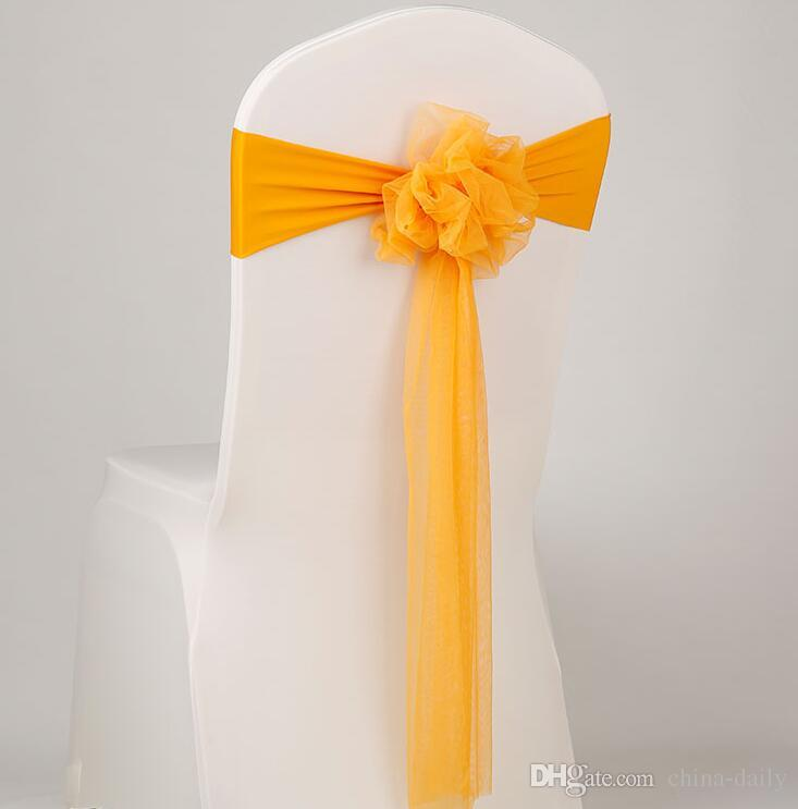 Free EMS DHL Flower Organza Sash Ornament Elastic Wedding Chair Cover Sashes Sash Party Banquet Decoration Decor Bow Colours