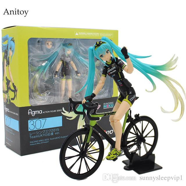 2019 Hatsune Miku Ride Bicycle Figma 307 RACING MIKU 2015  TeaomUKYO  Support Ver. PVC Figure Collectible Toy 15cm KT4009 From Sunnysleepvip1 107381cce