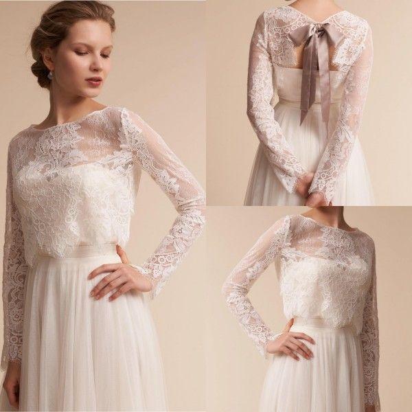 2018 Long Sleeve Bridal Wraps Lace Appliqued Bridal Coat Big Bow ...