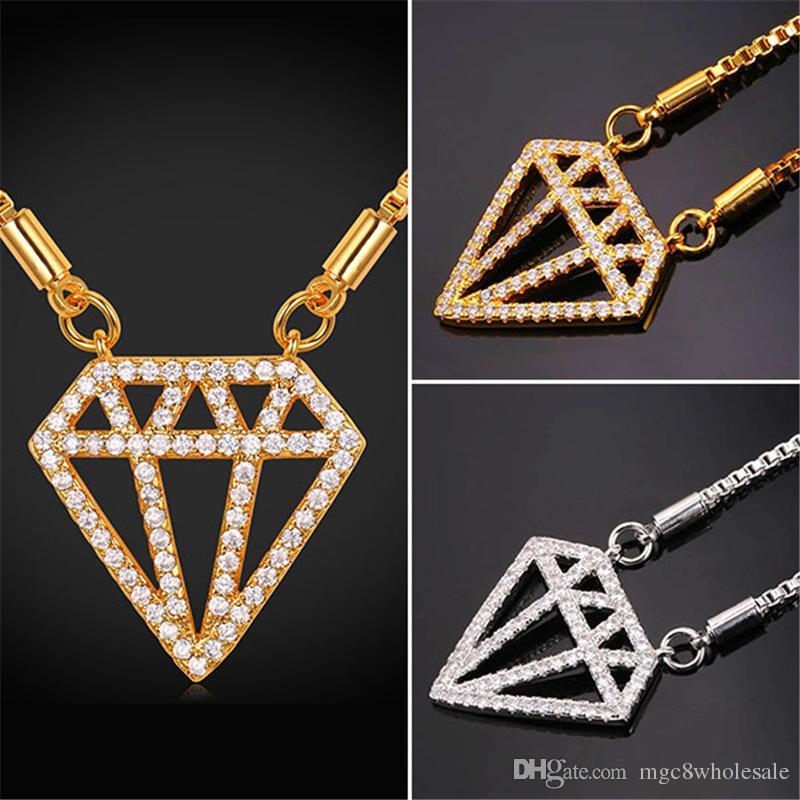 8210aa5dd0e2 Compre U7 Lujo Centelleo Caja De Diamantes Colgante Collar De Cadena Oro    Platino Plateado Collar De La Joyería Regalos Perfectos Mujeres Accesorios  De ...