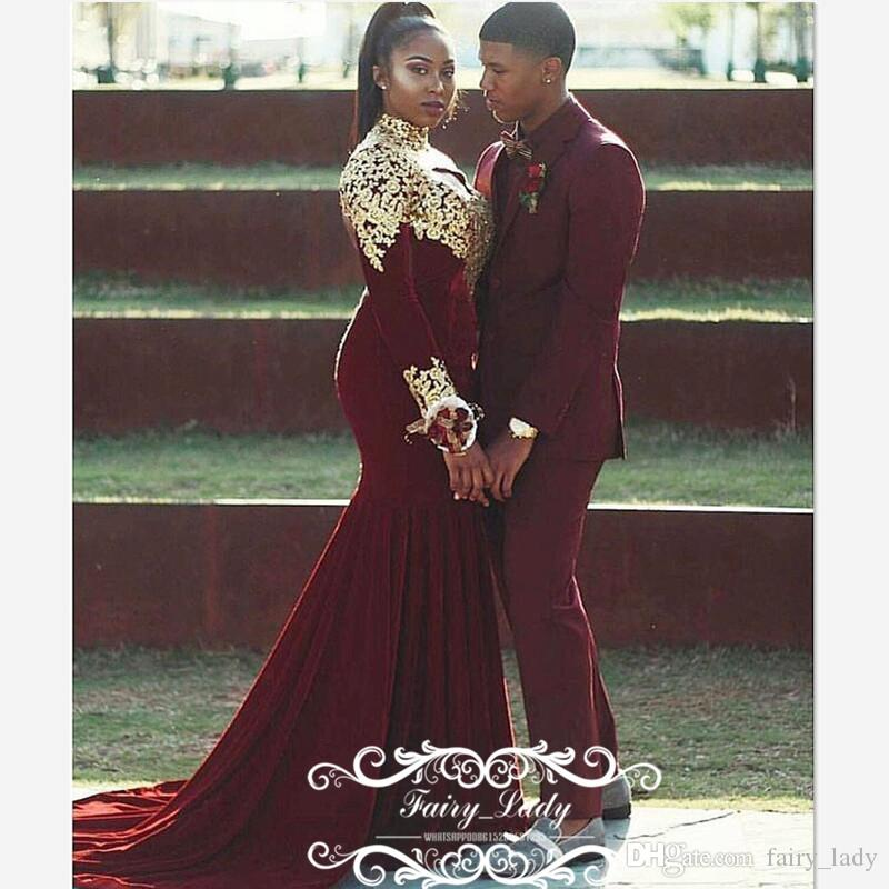 cac0aa840c0 Plus Size Women Gold 3D Floral Appliques Prom Dresses 2017 Long Sleeves  Mermaid Burgundy Stretchy Velvet Elegant Formal Dress Evening Gowns Pretty  Prom ...