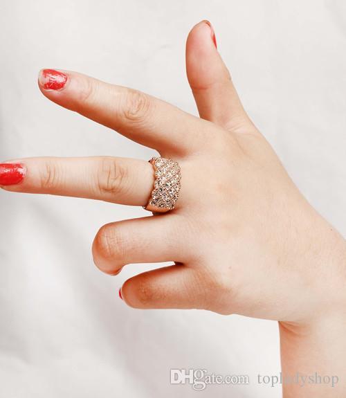 Lujo brillante cristal lleno anillo de diamante ancho anillo de cristal de oro y plata aleación whoelsale envío gratis